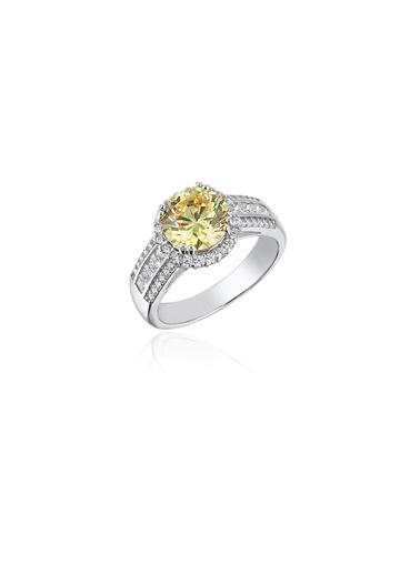 Tophills Diamond Co. 3,2Ct Sarı Pırlanta Efekt Caretta  Altın Yüzük Renkli